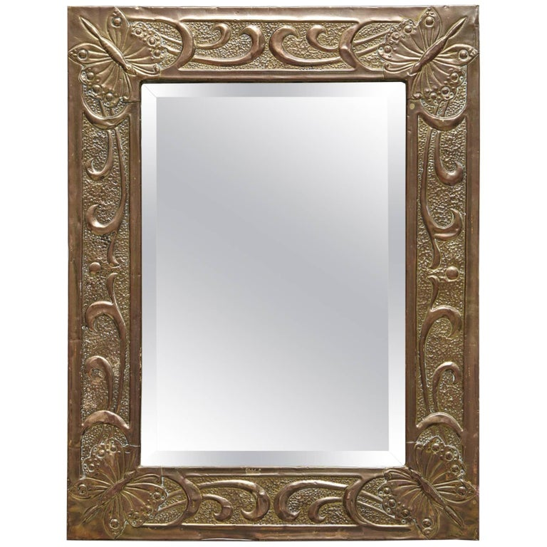 Arts And Crafts Hammered Brass Mirror At 1stdibs