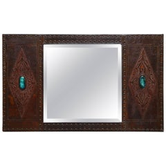 Arts & Crafts Embossed Leather Mirror