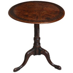 Carved Burl Wood Tripod Table
