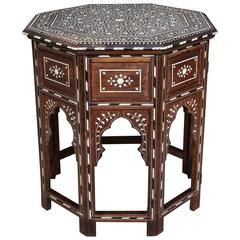 Indian Bone Inlaid Sandalwood Octagonal Table