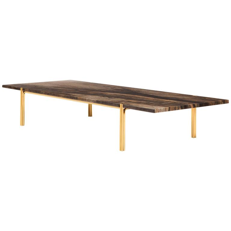 CA52 Contemporary Handcrafted Minimalist Modern Coffee Table with Stone Top