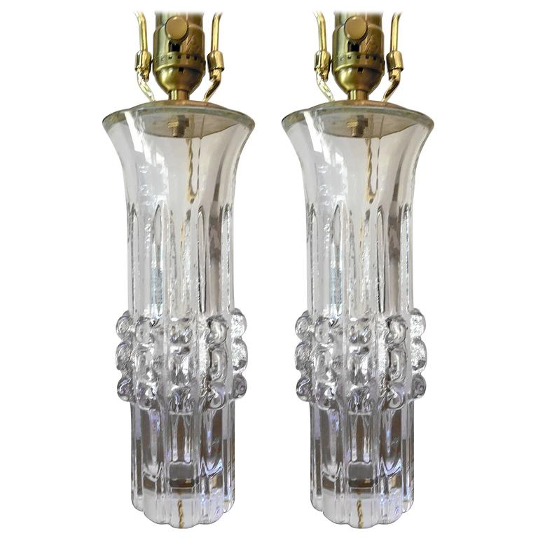 Pair of Swedish Bengt Edenfalk Glass 1960s Table Lamps 1