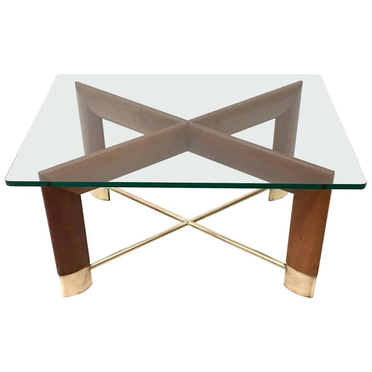 Walnut and Glass Coffee Table in the Style of Fontana Arte, Italy, 1970s For Sale