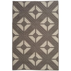 Natural Woven Wool Rug in Dark Grey Custom Crafted in the USA, Reversible, Araz