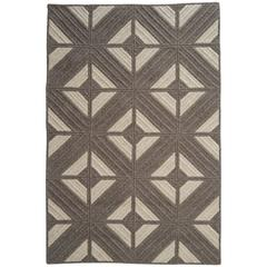 Natural Wool Rug, Araz in Dark Grey, Reversible, Custom Woven in the USA