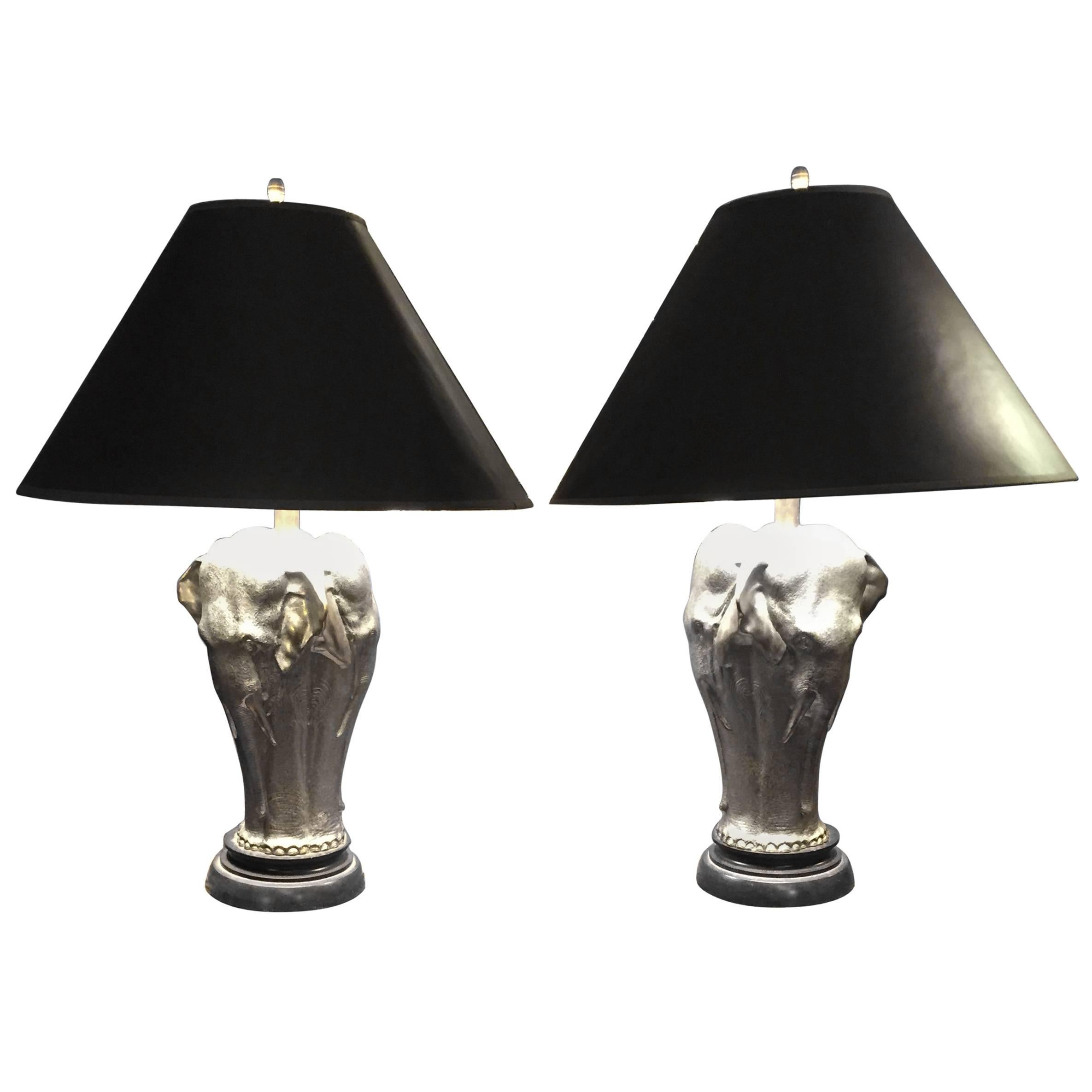 Vintage Pair Of Hollywood Regency Style Chappman Elephant Table Lamps 1
