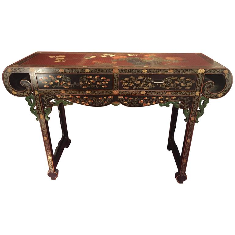 Vintage asian inspired lacquer prayer alter console table for Antique chinese tables for sale