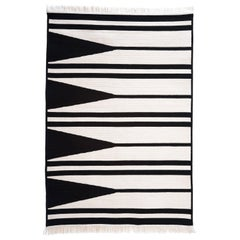 Natural Wool 'Aya' Rug in Black and White, Reversible, Custom Made in the USA