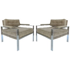 Mid-Century Modern Chrome Club Chairs in the Style of Harvey Probber, Pair