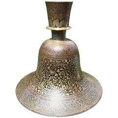 Indian Mughal Lacquered and Silver Inlaid Bidri Hookah Base