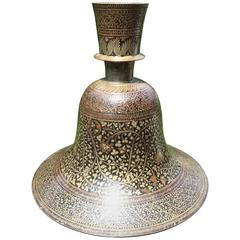 Indian Mughal Lacquered and Silver Inlaid Bidri Hookah Base