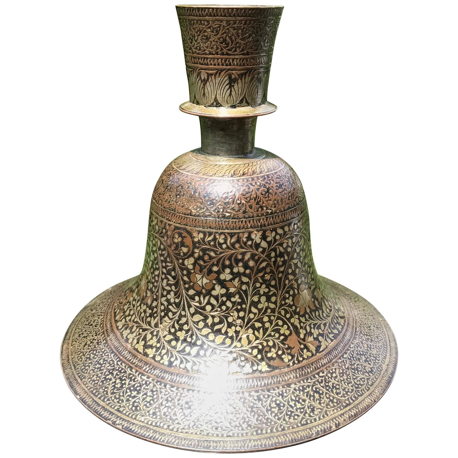 Indian table lamps 15 for sale at 1stdibs indian mughal lacquered and silver inlaid bidri hookah base geotapseo Gallery