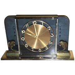 Art Deco Blue Glass Clock, 1930s