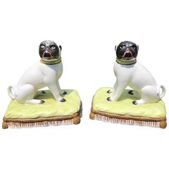 Pair of Pugnacious Porcelain Pugs