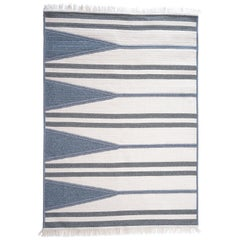Aya Rug, Natural Woven Blue & White Wool, Custom Made in the USA
