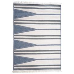 Aya Blue, Grey and White Wool Blend Geometric Stripe Rectangle Rug