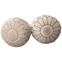 Pair of Moroccan Leather Poufs in Multiple Colors