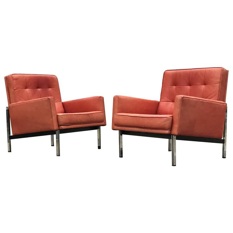 Pair of Florence Knoll Parallel Bar Lounge Chairs Museum Edition