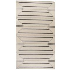 Inlay Grey and Cream Natural Un-Dyed Wool Geometric Stripe Rectangle Rug