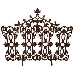 Large Gothic-Style Iron Fireplace Screen, European, 19th Century