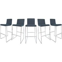 Set of Five Contemporary Upholstered Bar Stools in Stainless Steel