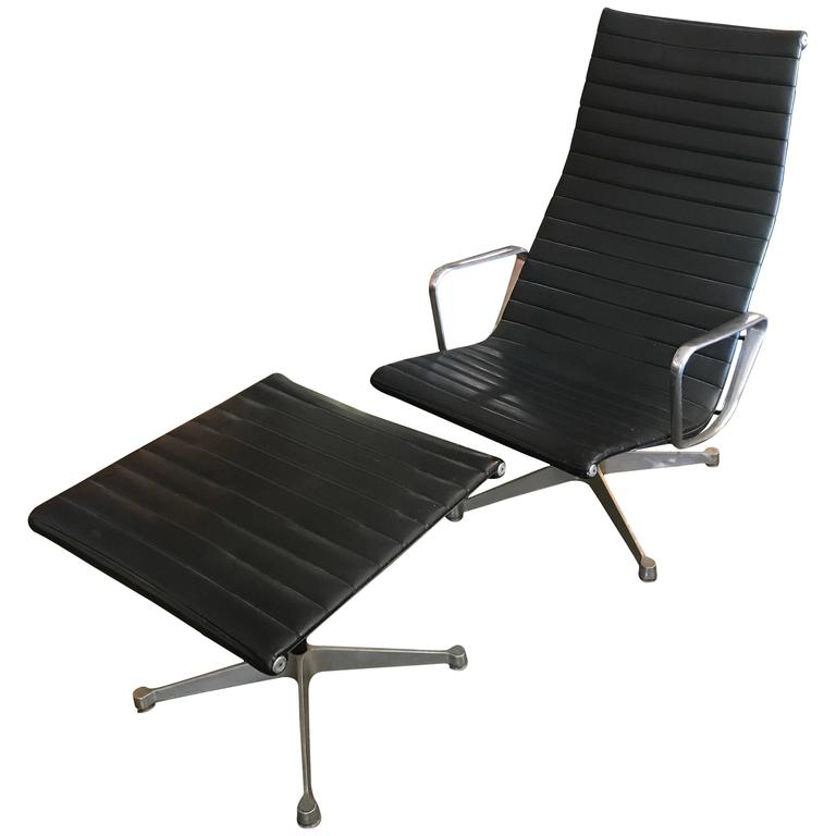 Vintage Early Eames Aluminium Group Lounge Chair and Ottoman For Sale at 1stdibs