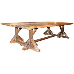 Over Size French Antique Shop Table on Architectural Base, Pine, circa 1900