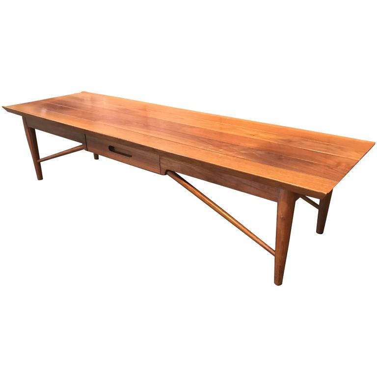 Henredon Oriental Style Coffee Table: Beautiful Heritage Henredon Walnut Coffee Table Bench At