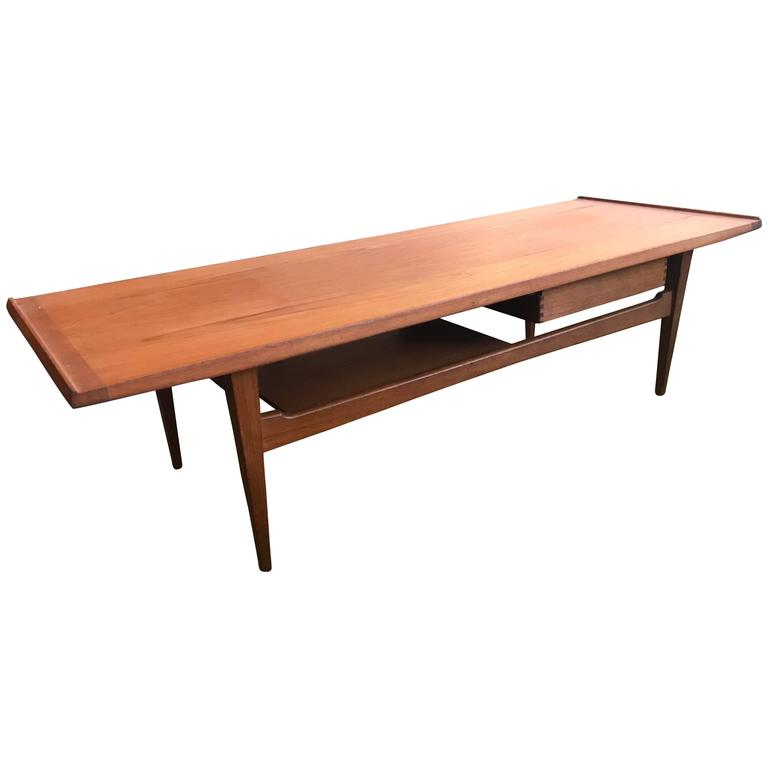 Two Tiered Teak Coffee Table with a Drawer by Morredi For