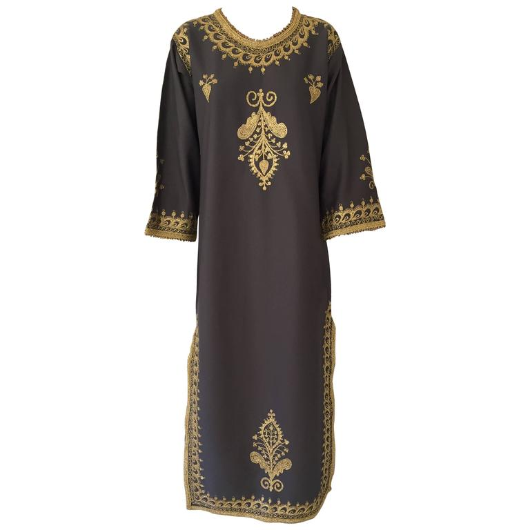Moroccan Caftan, Maxi Dress Kaftan, 1970 Size Small