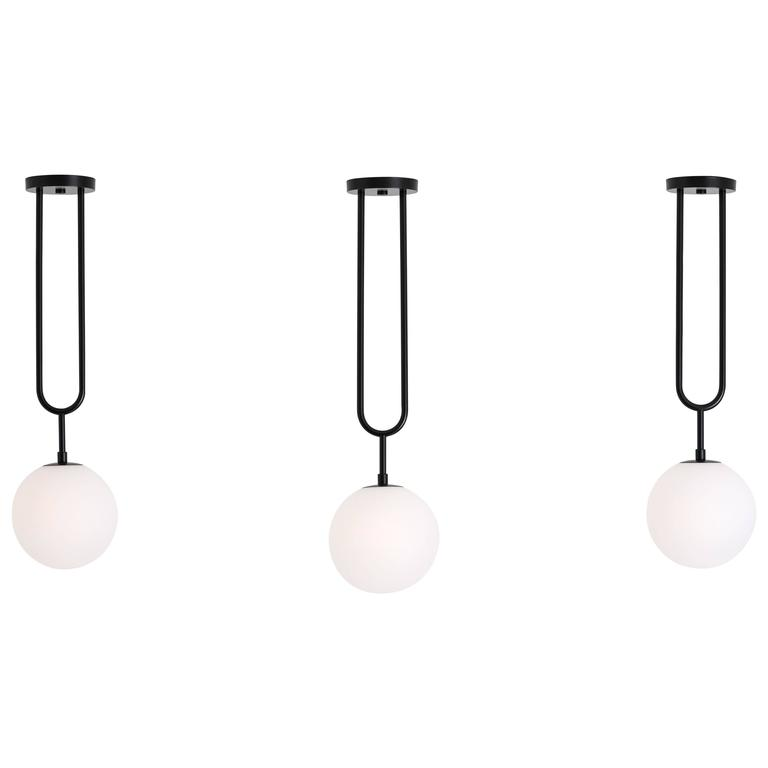 Koko, Modern Pendant Light with Satin Globe Shade and Matte Black Finish For Sale