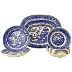 "Vintage English ""Blue Willow"" Dinnerware Set/10 By Ridgeways"