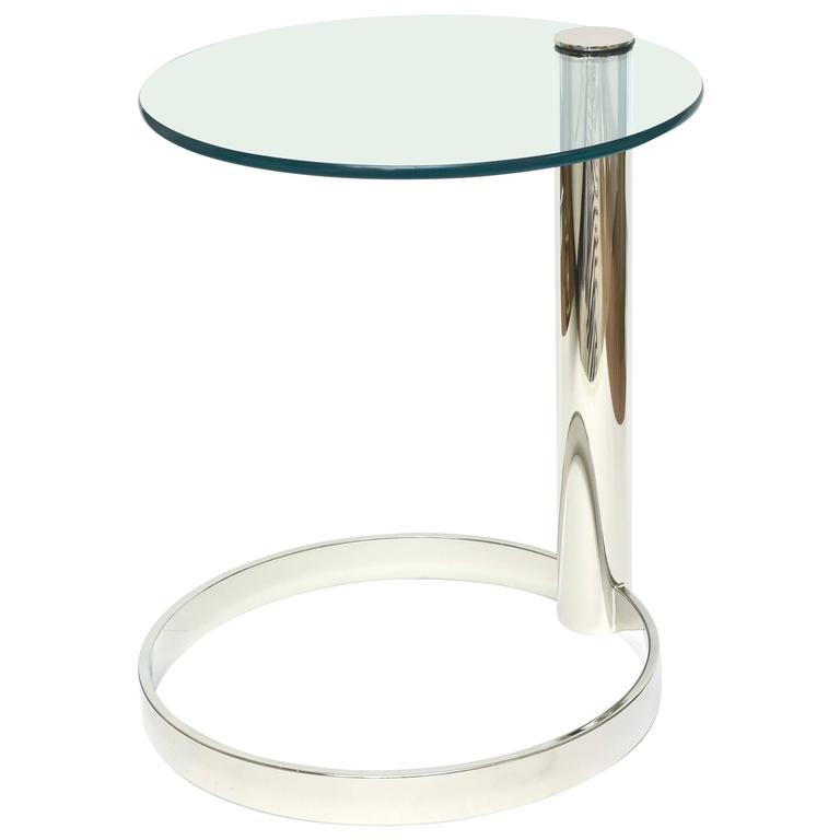 Pace Modern Nickel Silver and Glass Round Sculptural Cantilver Side Table 1