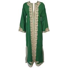 Moroccan Caftan Emerald Green Silk Kaftan Size S to M
