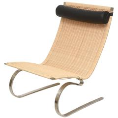 Poul Kjaerholm PK20 Cantiliver Stainless Steel, Cane and Leather Lounge Chair