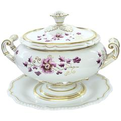 Antique English Flight, Barr and Barr Worcester Porcelain Soup Tureen and Stand