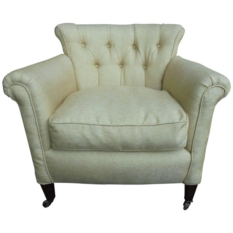 antique english upholstered armchair for sale at 1stdibs. Black Bedroom Furniture Sets. Home Design Ideas