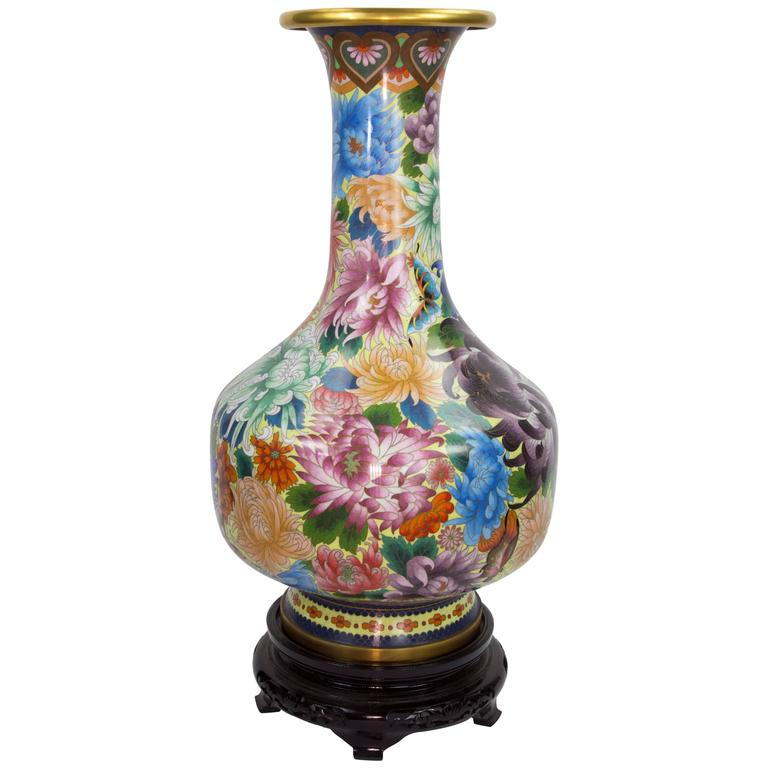 Beautiful Large Chinese Cloisonn Enamel Vase With Carved Wood Stand