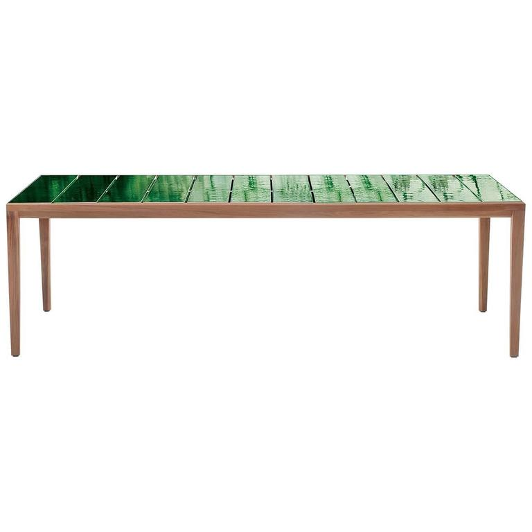 Roda Teka Outdoor 174 Dining Table in Teak with Glazed Stoneware Top