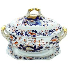 "Antique English Spode's ""New Stone"" Large Imari decor Soup Tureen, Lid and Stand"