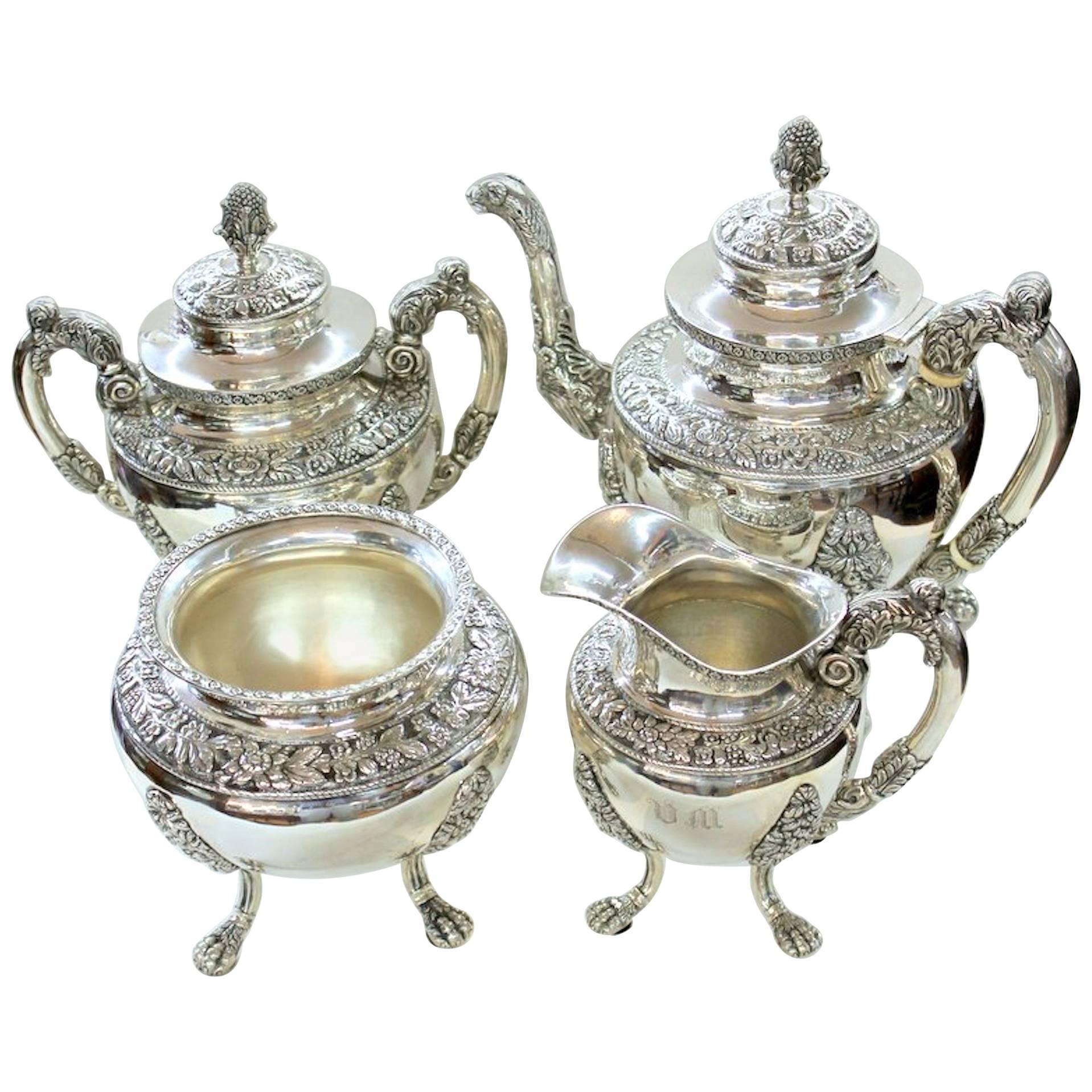 Antique American Coin Silver Rococo Style Four-Piece Tea Set by Andrew De Milt