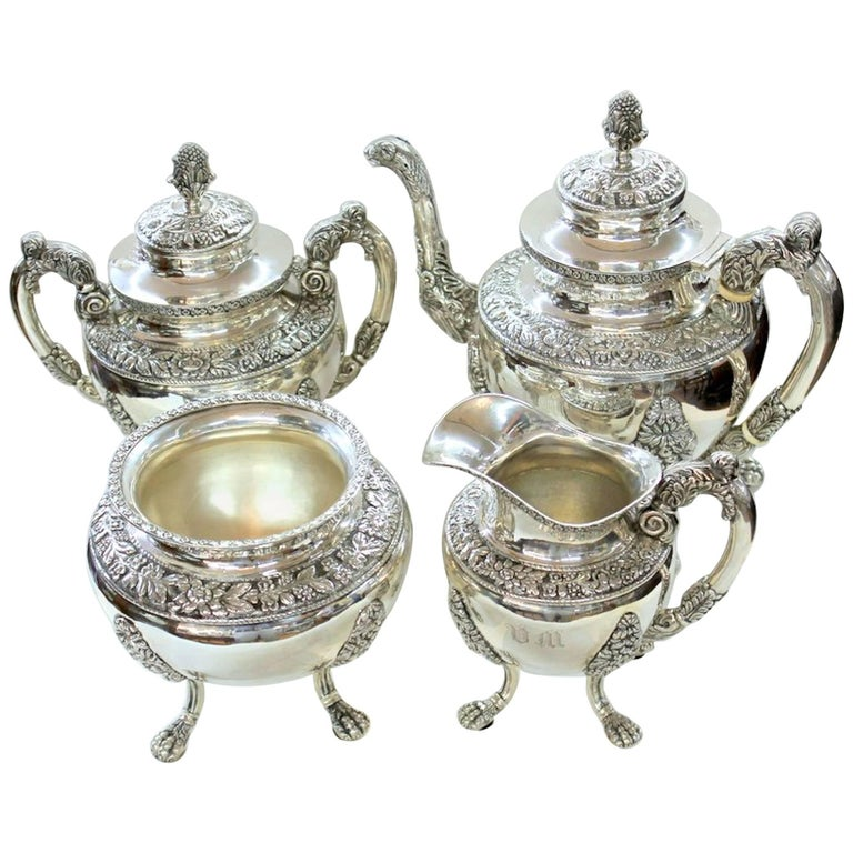 Antique American Coin Silver Rococo Style Four-Piece Tea Set by Andrew De Milt For Sale