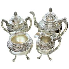 Antique American Coin Silver Rococo Style Four-Piece Tea Set by Andrew De Milt
