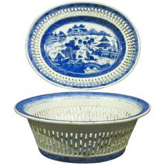 19th Century Chinese Export Blue & White Porcelain Chestnut Basket & Flat