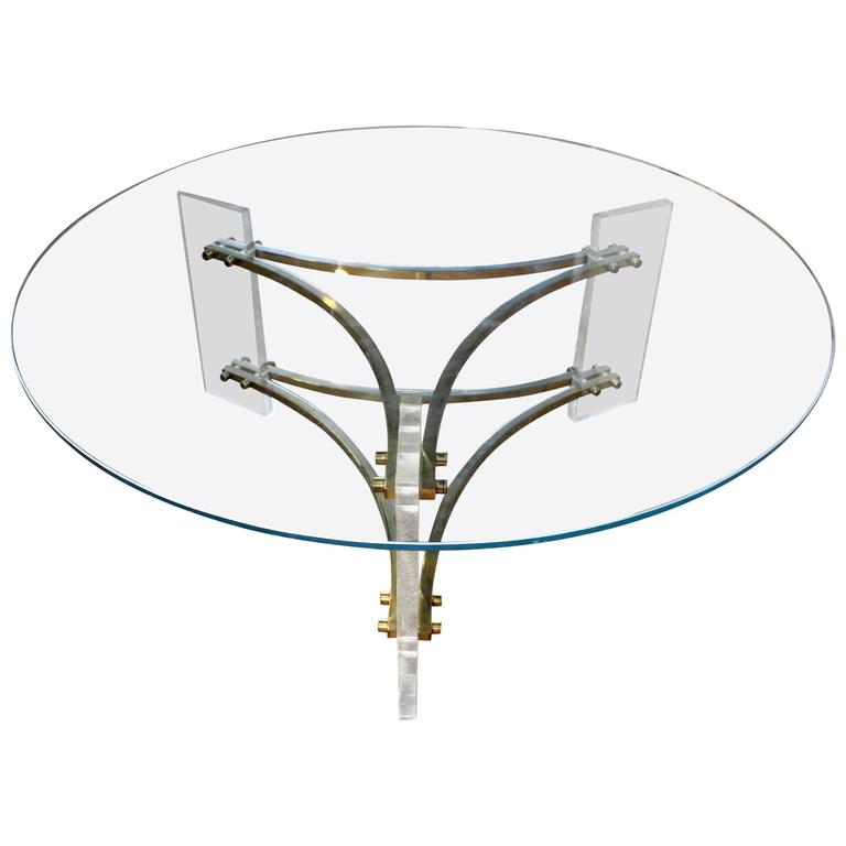 Mid Century Brushed Brass And Acrylic Coffee Table By Charles Hollis Jones  For Sale