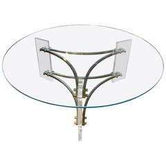 Mid-Century Brushed Brass and Acrylic Coffee Table by Charles Hollis Jones