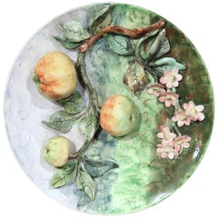 Large 19th Century French Barbotine Wall Platter with Apples Signed Longchamp