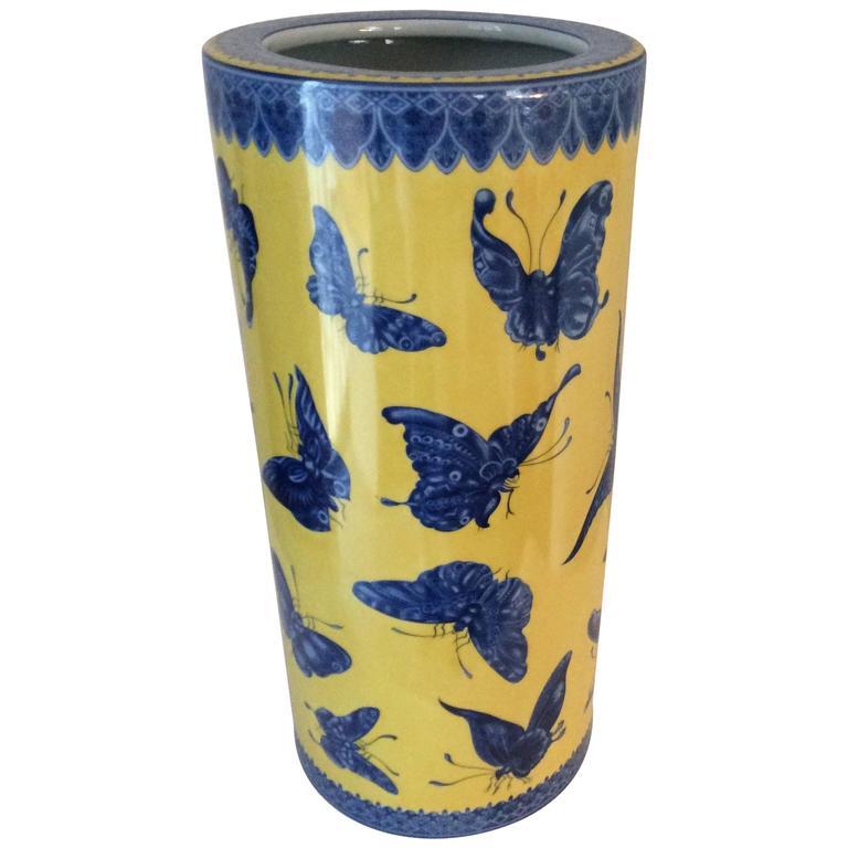 Mid-Century Modern Fornasetti Style Porcelain Umbrella Stand Butterflies 1