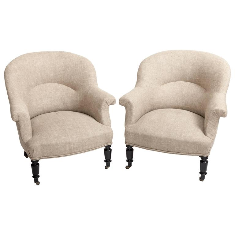 Pair of French Early 19th Century Upholstered Chairs 1