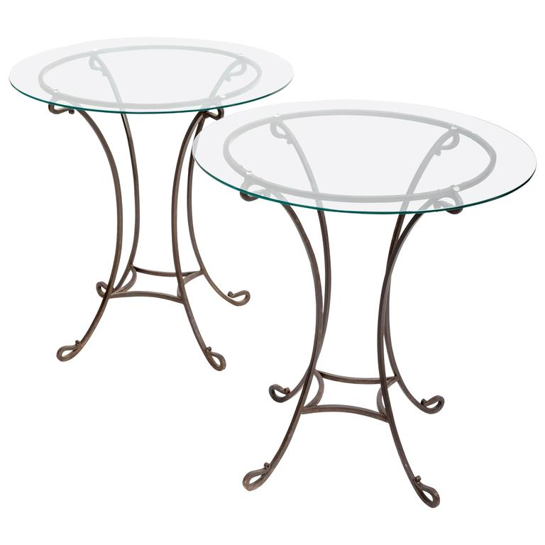 Pair of Wrought Iron Side Tables, France, circa 1940s For Sale